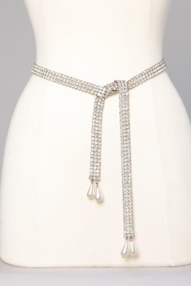 info pour f6a57 ecb58 Ceinture en métal argenté strassé et perles nacrées