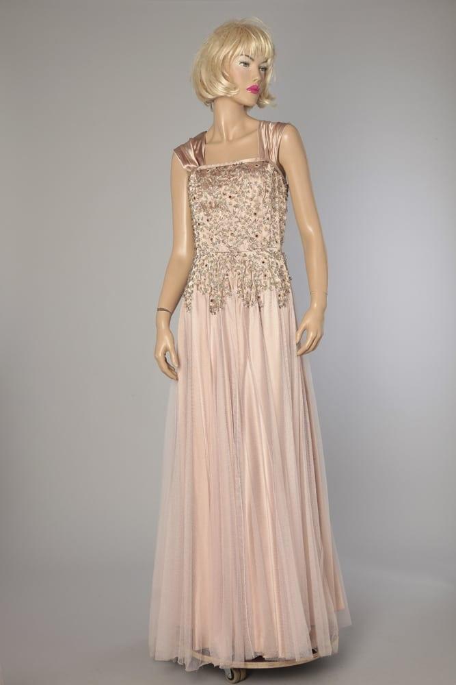 cuentas largo tul satinado rosa bordado de con Vestido 6Ybvfgy7
