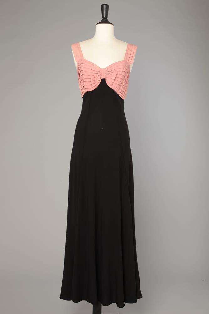 b372800d87f Robe longue 1930 en crêpe bicolore rose et noir - Chez Sarah