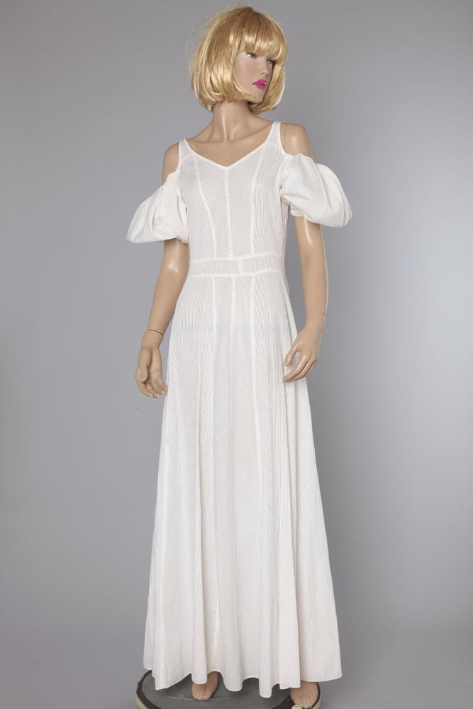 rayas blanco 1930 en caladas Sarah con de largo casa Vestido 4RjqA35L