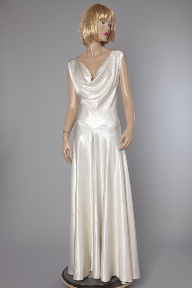Soie Satin Robe De Longue Sarah Argent En 1930 Chez XqqRZT