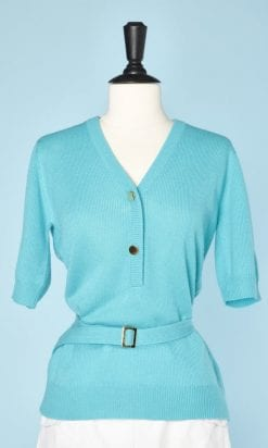 n5480_pull_1960_tricot_bleu_turquoise_boutons_dore_ceinture_pic002