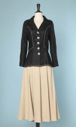 n5887_tailleur_jupe_vintage_lin_bicolore_lin_rochas_taille_38_pic001