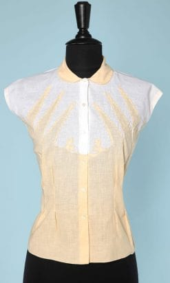 n6180_chemisier_coton_jaune_blanc_broderies_1950_taille_40_pic001