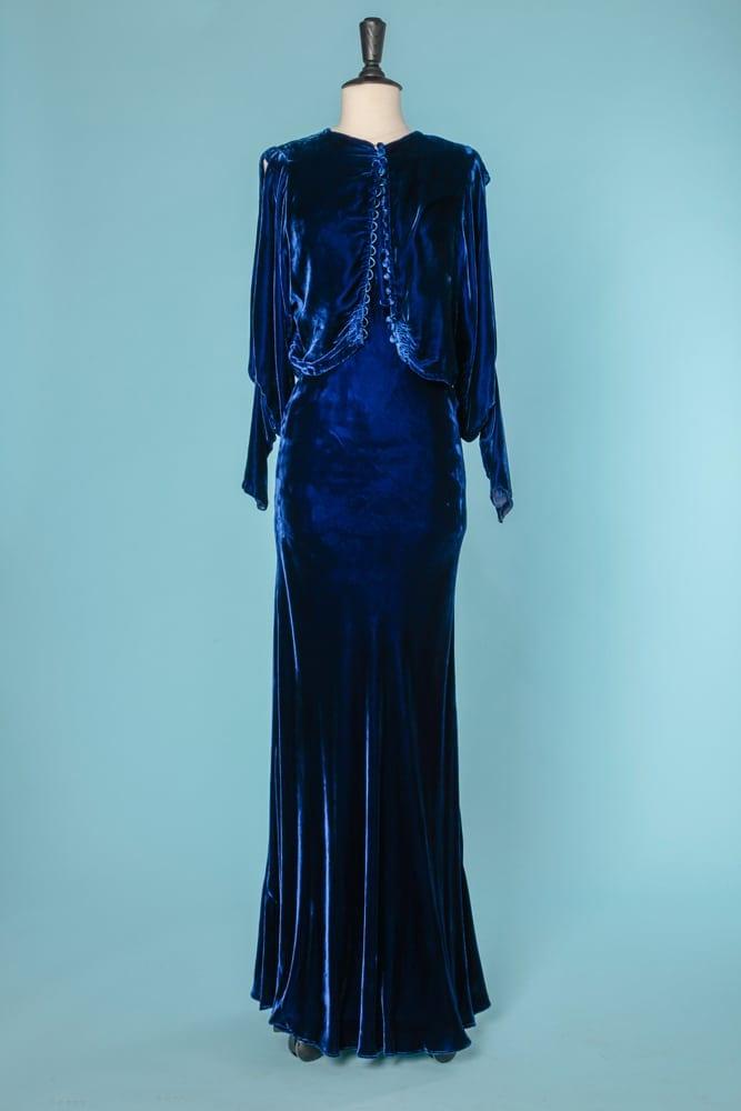 685a2aaa377 Robe en velours de soie bleu roi 1930 avec boléro assorti - Chez Sarah