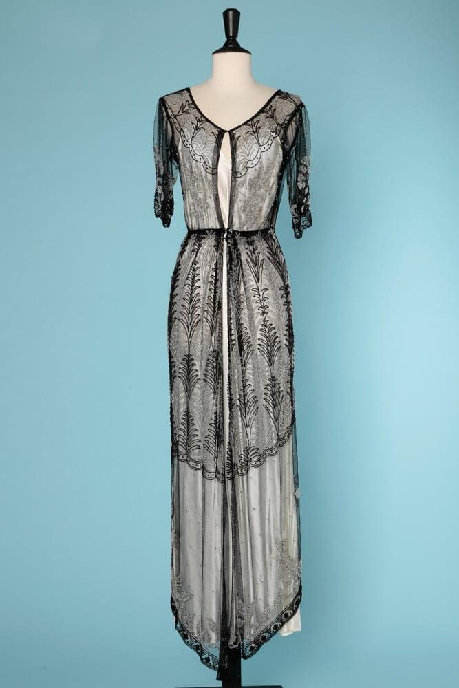 Noir Transparentes En Noires De Brodée Tulle Et Robe 1910 Perles UMVSpz