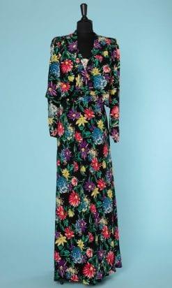 n6501_longue_robe_rayonne_veste_assortie_1930_imprimee_fleurs_multicolore_broche_strass_encolure_taille_40_pic001
