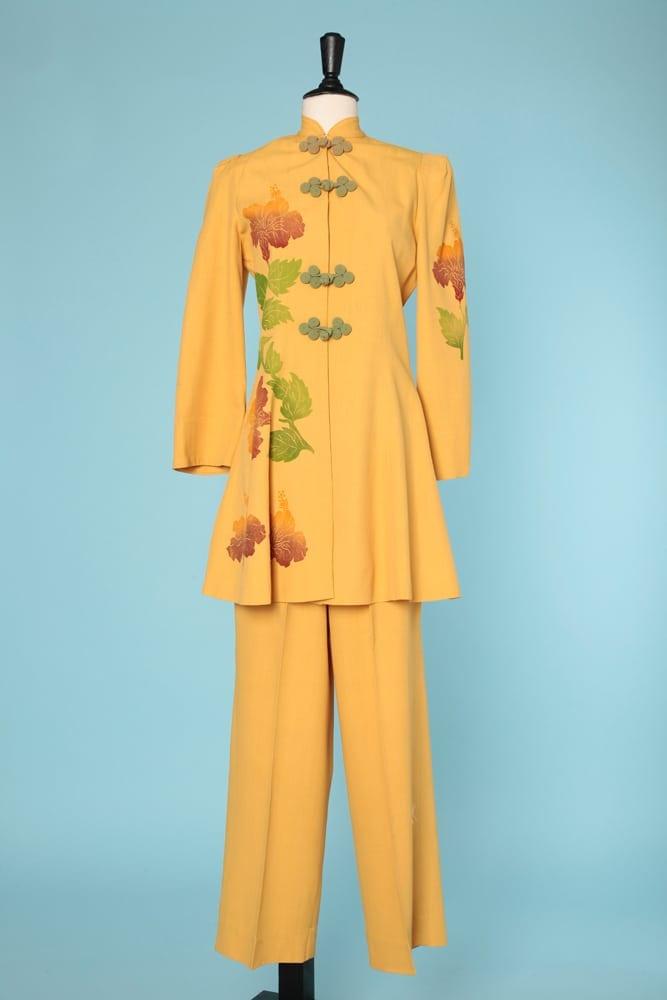 Tailleur Sarah 1940 Veste Chez Pantalon Longue En Jaune Coton PPqU4