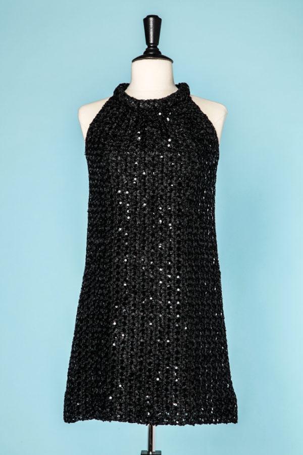 49c477a44e8c5 Femme Mini robe 1970 crocheté de rubans noir et pailleté Femme, Paillette  500.00 €
