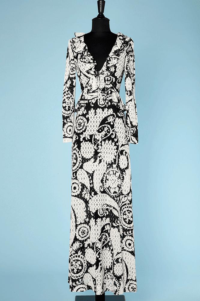 99b046af920 Robe longue vintage en jersey blanc imprimé noir découpé au lazer - Chez  Sarah