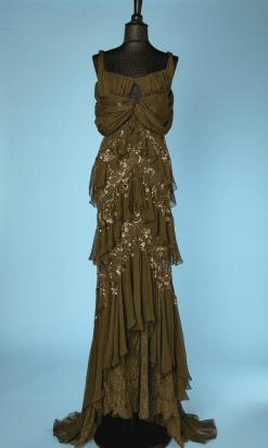 n9201_robe_vintage_longue_mousseline_vert_bronze_dentelle_brodee_paillettes_perles_john_galliano_t38_pic002a