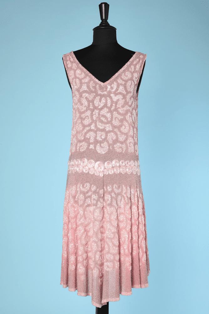 En De Brodée Perles Coton 1925 Voile Robe Rose Blanches kZOPXiu