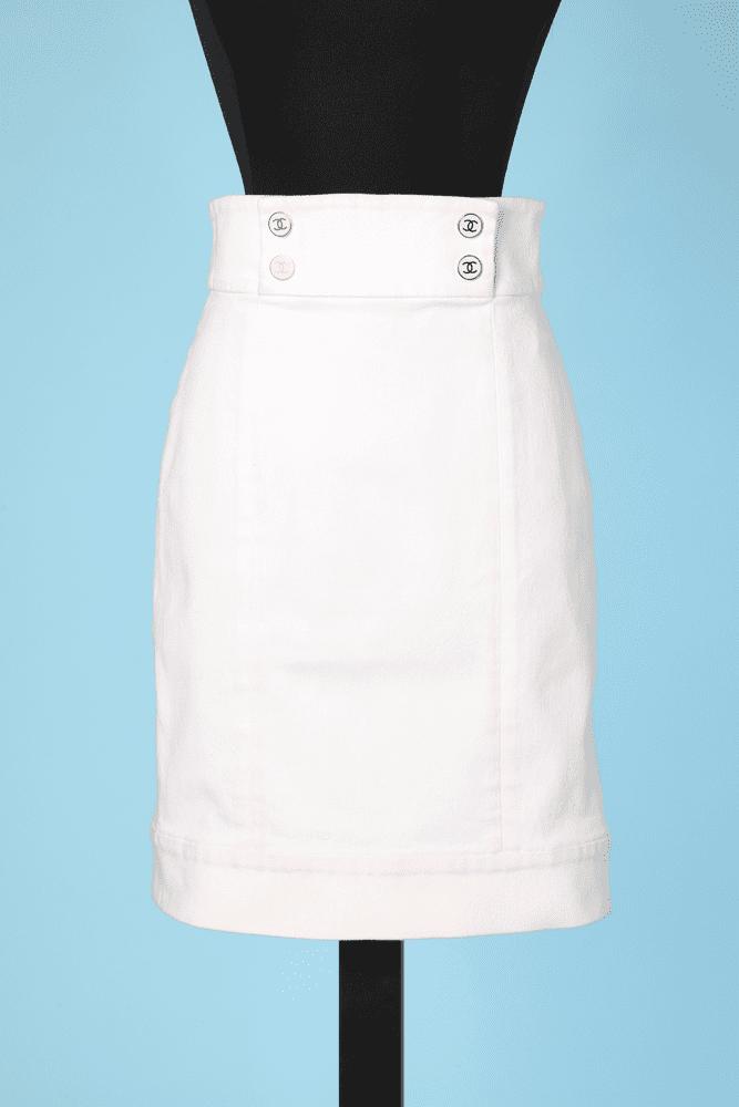 dba5cf01d7fb05 Jupe en coton blanc Chanel