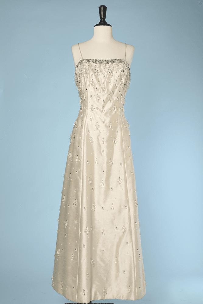 1960 Et Sauvage Soie Robe Strassée En Perlée Écrue Longue JT5u3lFKc1