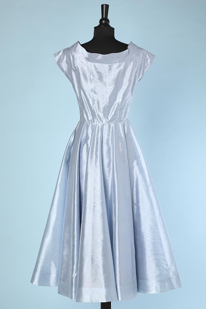 Robe De Cocktail 1950 En Soie Sauvage Bleu Ciel Chez Sarah