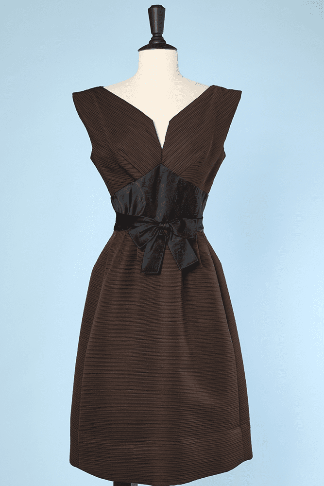 Faille De Cocktail Marron 1950 Soie En Et Robe Noire nm0N8w