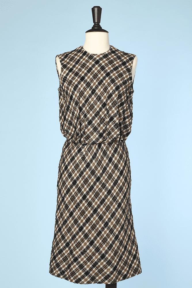 Et Perles Carreaux En À Brodées 1960 Lainage Robe SVGqUpzM