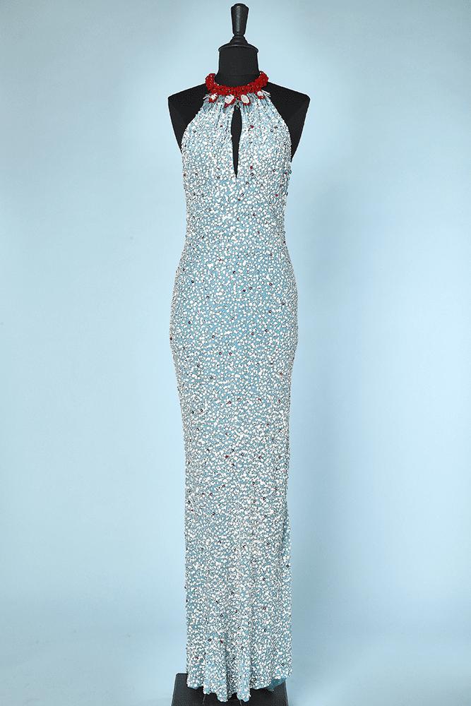 Robe Longue Vintage En Soie Bleu Brodee De Paillettes Et Perles Chez Sarah