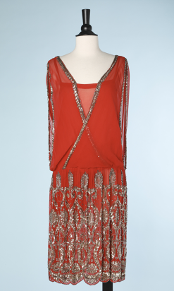 na3881_robe_1925_mousseline_soie_rouge_perlee_argent_t38_001