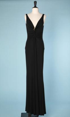 nA4658-robe-longue-noire-vintage-serpent-en-métal-doré-encolure-Roberto-Cavalli-t38-40-01