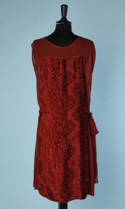 nA4678-Robe-1920-en-mousseline-soie-et-velours-dévoré-marron-t42