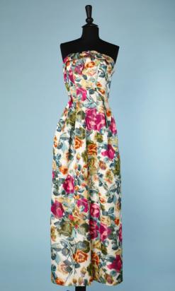 nA4749-Robe-longue-bustier-1950-en-soie-chiné-à-la-branche-de-fleurs-t34-01