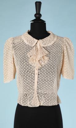 nA4874-Gilet-1940-en-coton-crocheté-beige-col-et-jabot-t36-01