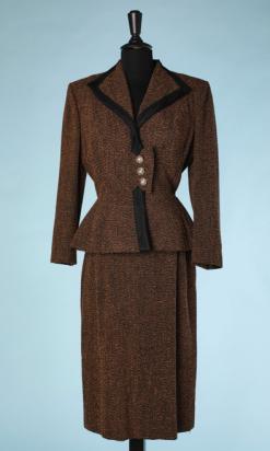nA4942-Tailleur-1940-en-lainage-marron-chiné-noir-Lilli-Ann-t36-01