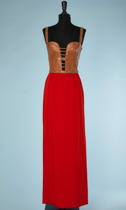nA5097-Robe-longue-du-soir-en-cuir-marron-et-crêpe-rouge-Genny-t36-01