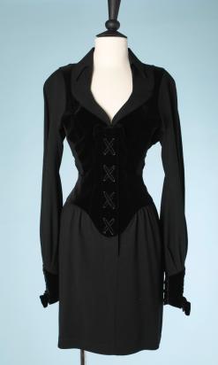 nA5115-Robe-corset-en-crêpe-et-velours-noir-Mugler-t38-01