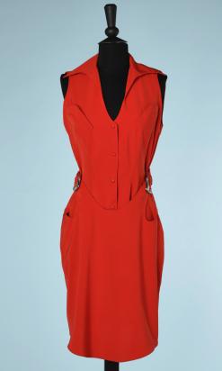 nA5144-Robe-en-soie-rouge-1990-avec-2-boucles-en-métal-chromé-Thierry-Mugler-t36-01