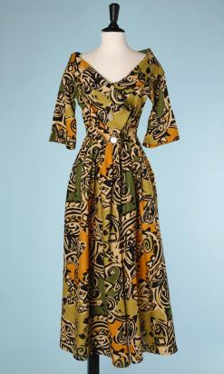 nA5166-Robe-longue-en-lin-imprimé-africain-écru-jaune-vert-noir-Anne-Marie-Beretta-T34-01