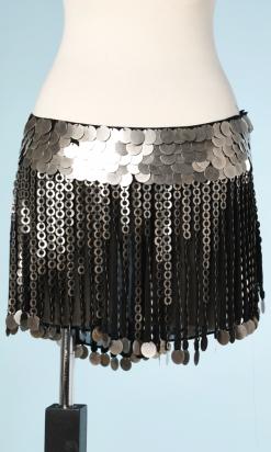 nA5169-Short-en-mousseline-noire-cousu-de-paillettes-en-métal-argenté-t38-40-01