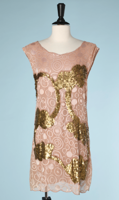 nA5269-800E-Robe-vintage-en-mousseline-rose-poudré-avec-cercles-et-broderies-de-paillettes-en-métal-doré-t40-42-01