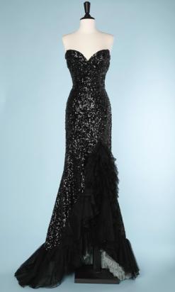 nA5281-Robe-du-soir-1950-sirène-entièrement-pailleté-noir-volants-en-tulle-noir-et-vert-t38