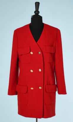 nA5780-Veste-en-lainage-tissé-rouge-Chanel-t38-01
