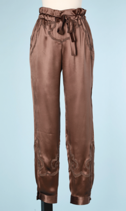 nA6137-Pantalon-en-satin-marron-glacé-incrustations-YSL-t38-01