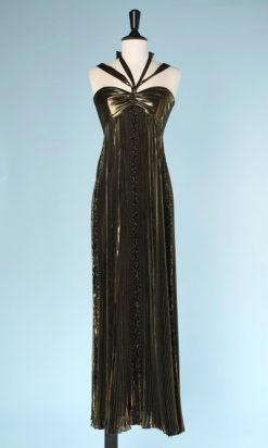 na6015-Robe-bustier-en-soie-plissé-soleil-vieil-or-bretelles-t36-01