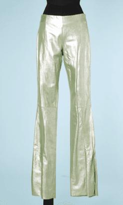 na6448-Pantalon-en-cuir-vert-à-reflets-argentés-t38-01