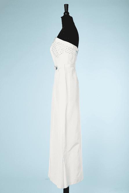 na6464-Tailleur-du-soir-Robe-bustier-et-Veste-en-reps-blanc-cousu-de-paillettes-dorées-t38-01
