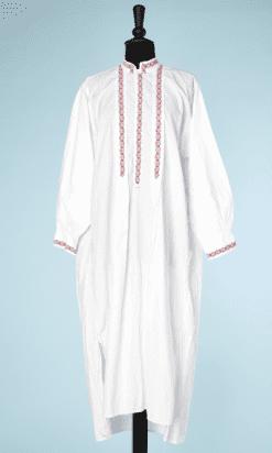 na6469-Chemise-de-nuit-dhomme-en-coton-blanc-frises-de-fleurs-rouges-et-bleues-01