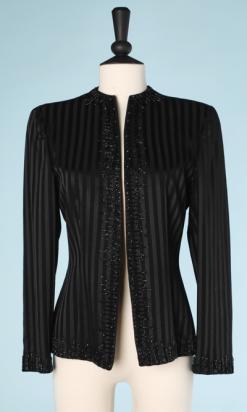 na6478-Veste-vintage-en-satin-noir-à-rayures-contrastées-et-perles-brodées-Emporio-armani-t38-01