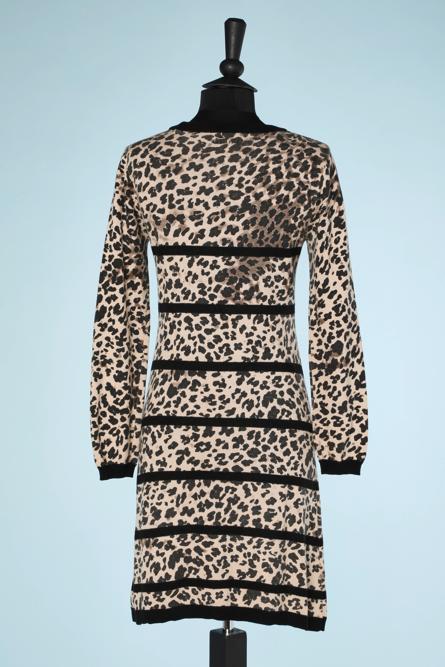 na6482-Robe-en-maille-tricot-beige-imprimé-léopard-Junior-Gaultier-t36-01
