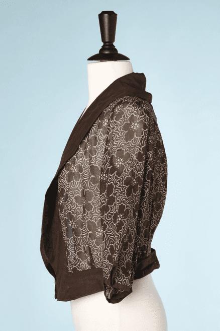 na6784-Chemisier-1920-30-en-voile-de-coton-marron-imprimé-de-fleurs-écrues-t40.-01