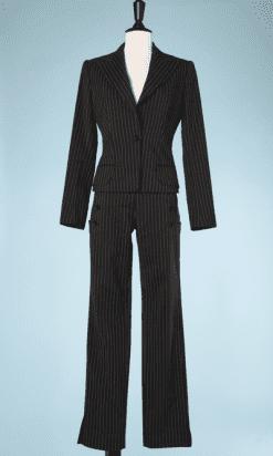na7377-Tailleur-pantalon-laçé-marron-à-rayure-écrue-Dolce-Gabanna-T3840-01