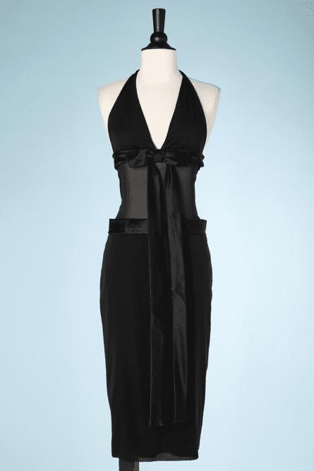 na7384-Robe-en-voile-noir-et-bandes-de-satin-avec-noeuds-Dolce-Gabanna-T40-01