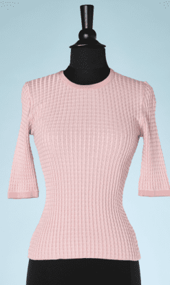 na7411-Pull-en-maille-rose-à-manches-courtes-Christian-Dior-T34-01