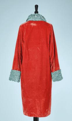 na6747-Manteau-1920-en-velours-orange-col-et-poignets-en-velours-turquoise-t38-40-01