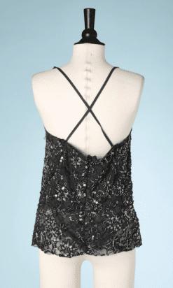 na7364-Débardeur-bretelles-crooisés-gris-recouvert-de-dentelle-brodée-de-perles-et-paillettes-Comme-des-Garçon-T40-01