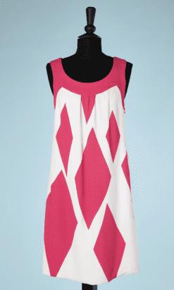 nA8057-Robe-1960-en-crêpe-rose-et-blanc-Jean-Patou-t40-42-01